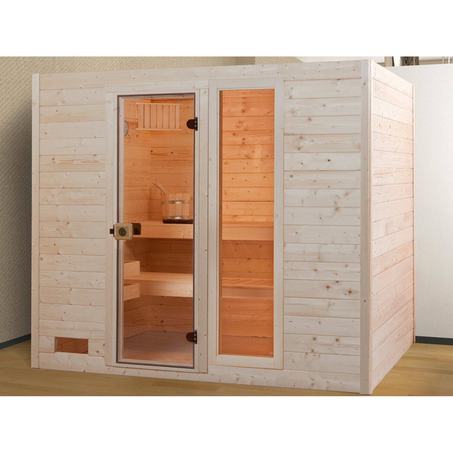 weka massivholz sauna 538 gr 4 mit glast r und fensterelement ohne ofen kaufen bei obi. Black Bedroom Furniture Sets. Home Design Ideas