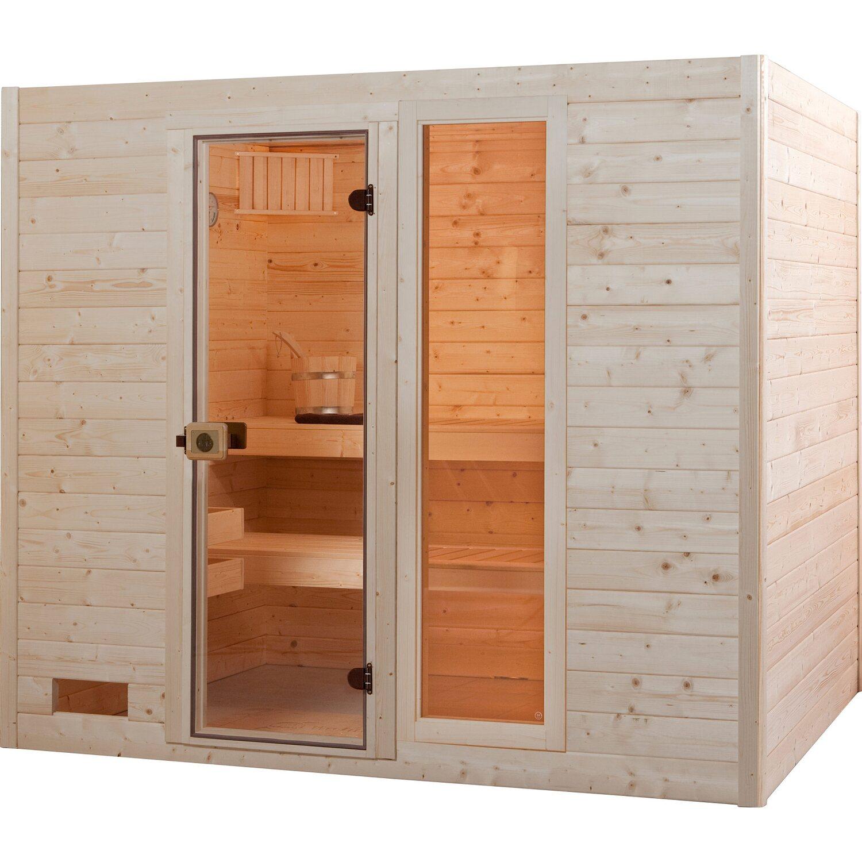 Weka Sauna 538 Gr. 4 mit Fronteinstieg 38 mm inkl. Glasganztür und Fenster   Bad > Sauna & Zubehör > Saunen   Weka