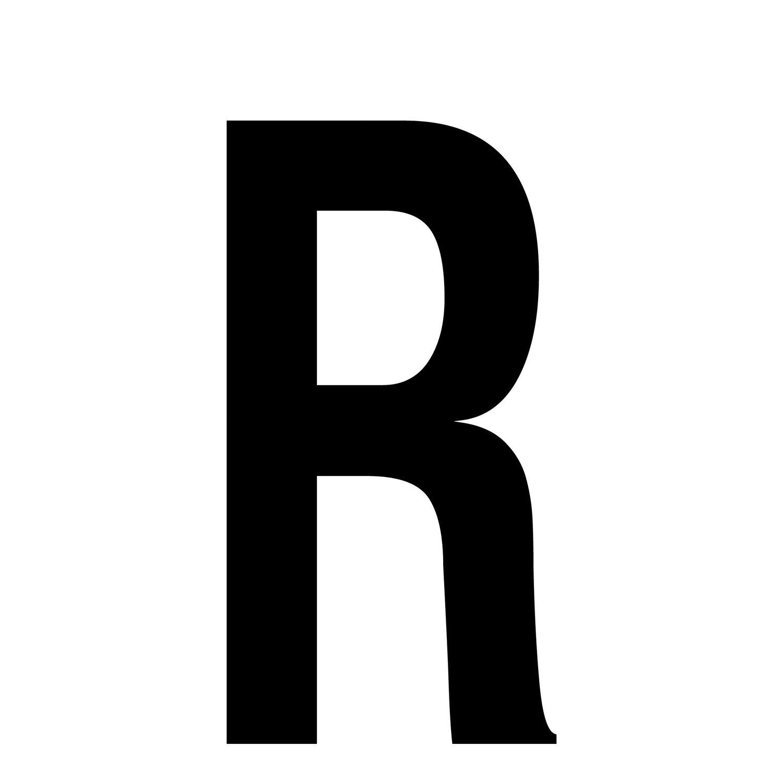 Aufkleber Buchstabe R Schrifthöhe 35 Cm