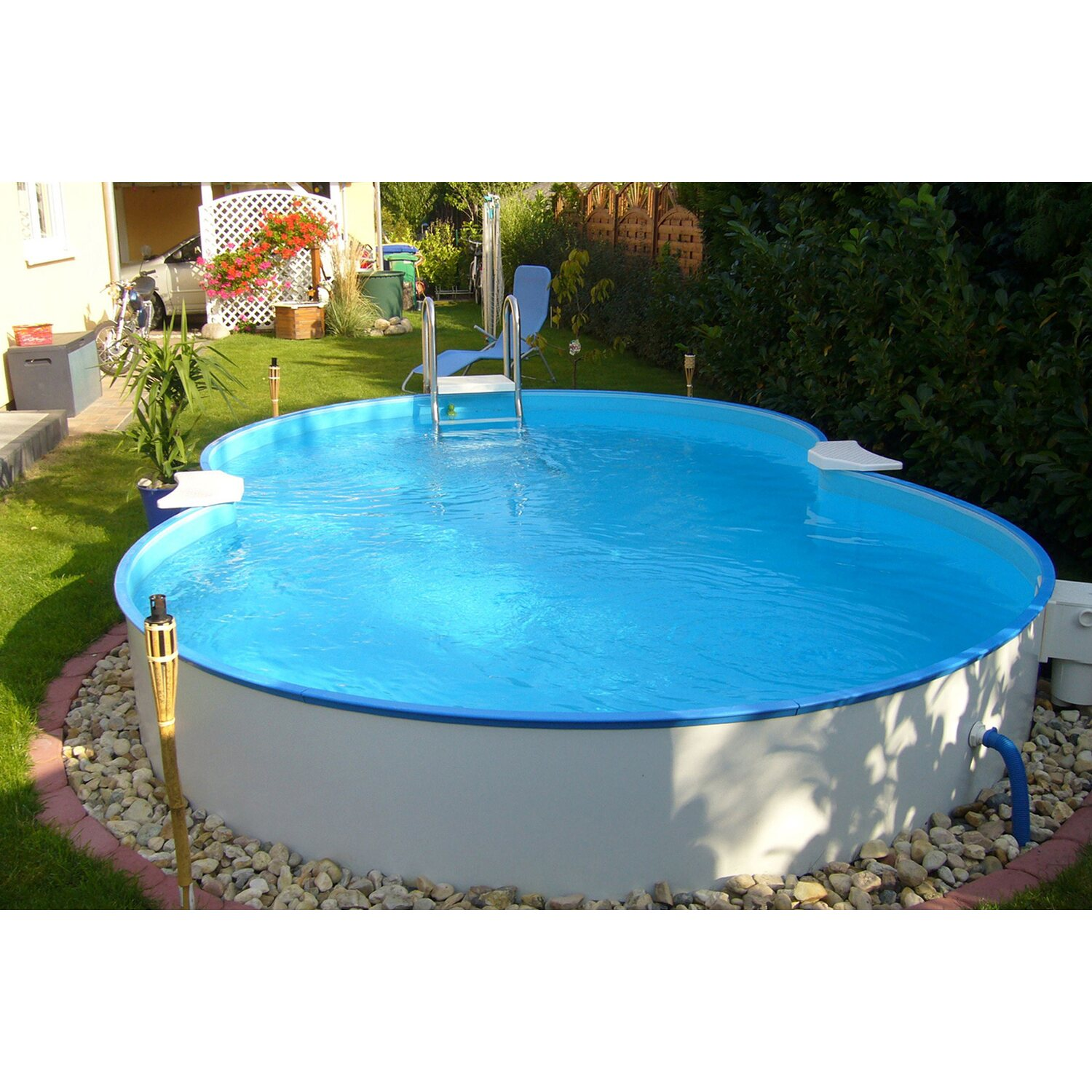 Stahlwand pool set calypso aufstellbecken achtform 525 cm for Obi sandfilteranlage pool