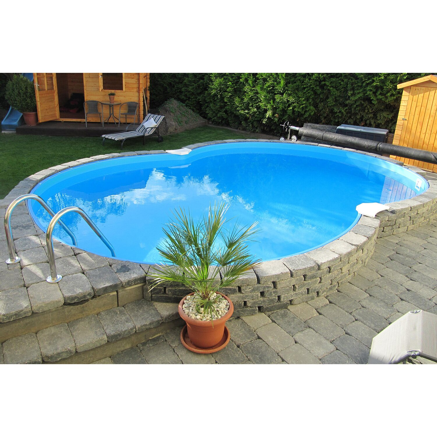 Pool set cannes halbhoch einbaubecken achtform 625 cm x for Stahlwandbecken oval