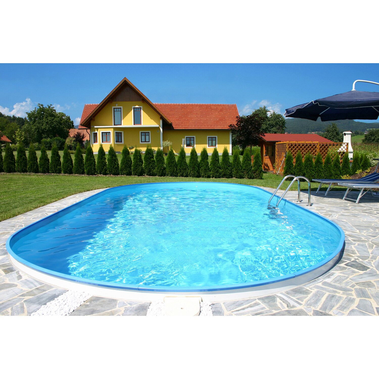 Stahlwand pool set ferrara einbaubecken ovalform 525 cm x for Obi poolfolie
