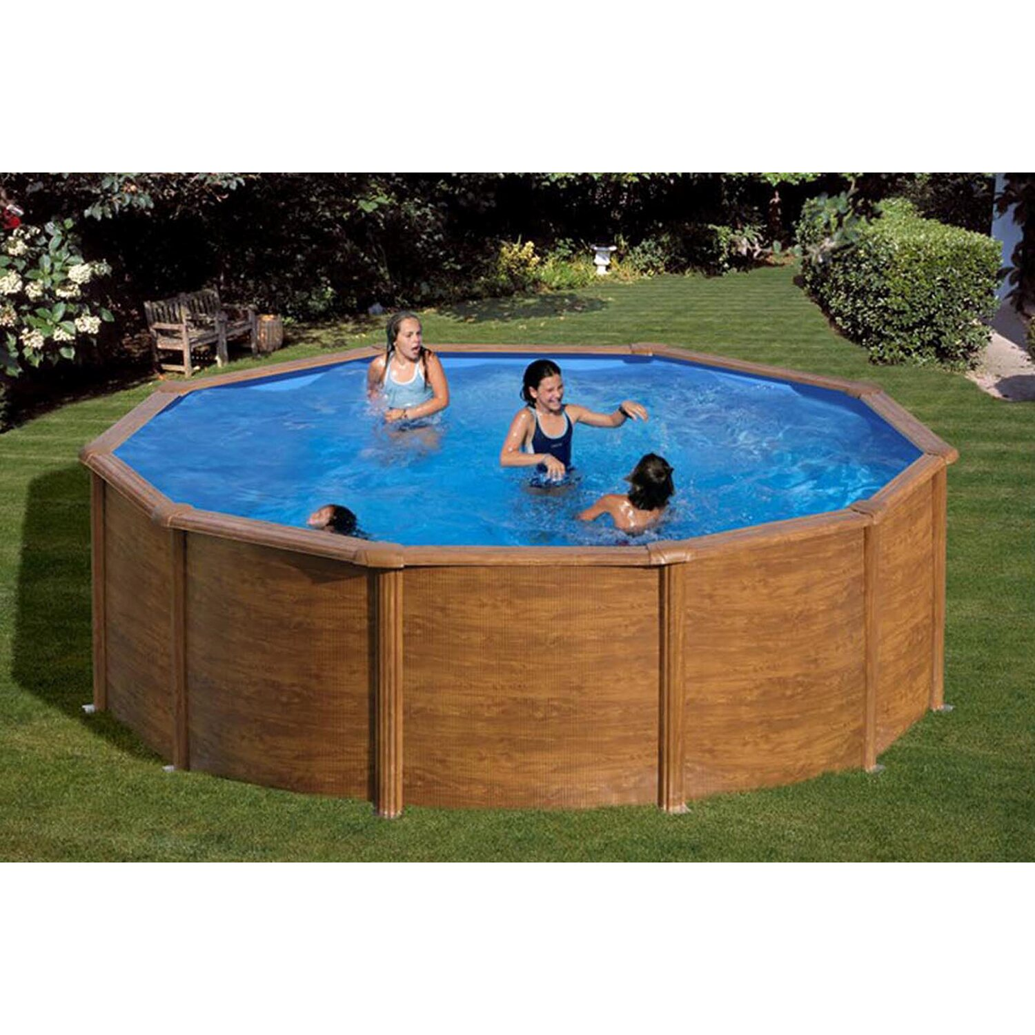 Summer fun holzpool set santa fe aufstellbecken 390 cm x for Swimming pools bei obi