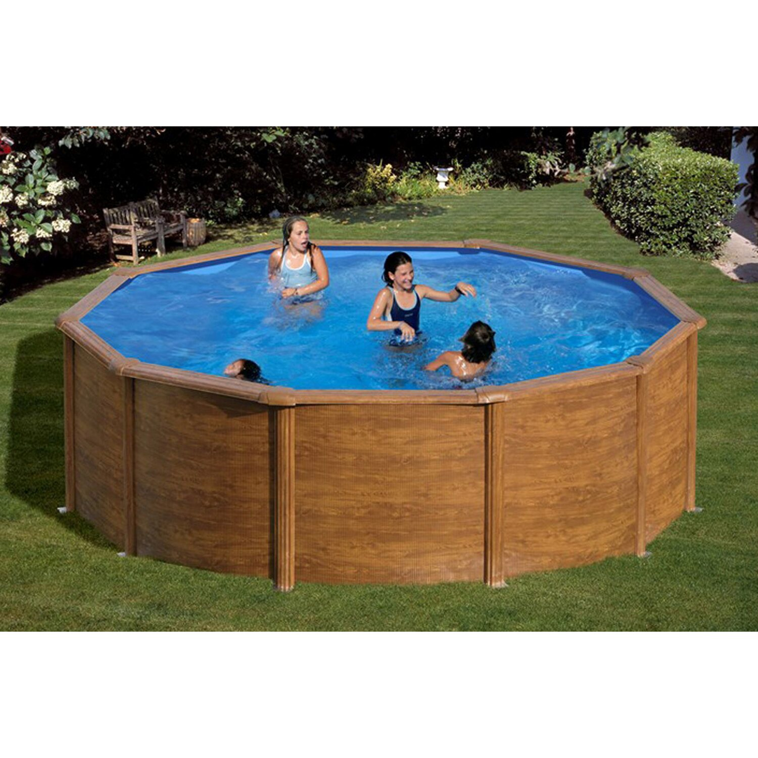Summer fun stahlwand pool set holz dekor rhodos for Badepool obi