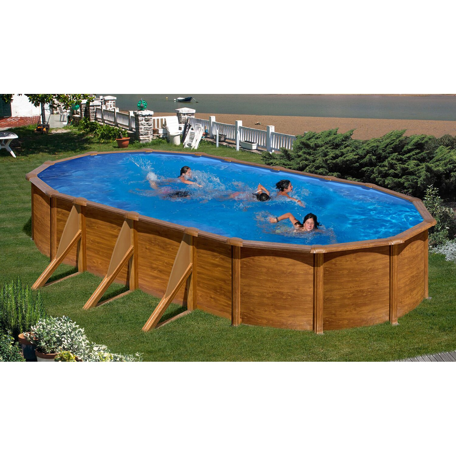 pool set holz dekor ravenna aufstellbecken oval 610 cm x. Black Bedroom Furniture Sets. Home Design Ideas