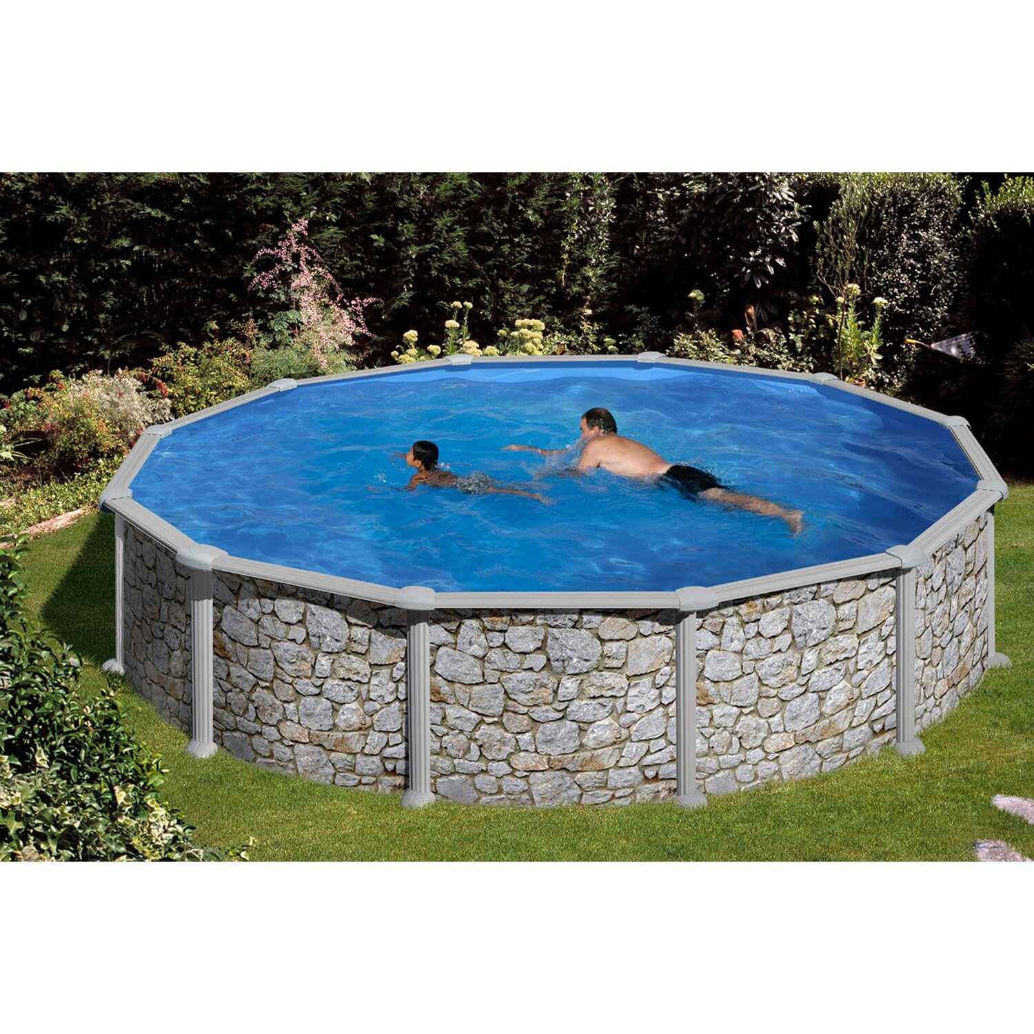 Summer fun stahlwand pool set stein dekor aufstellbecken for Obi pool katalog