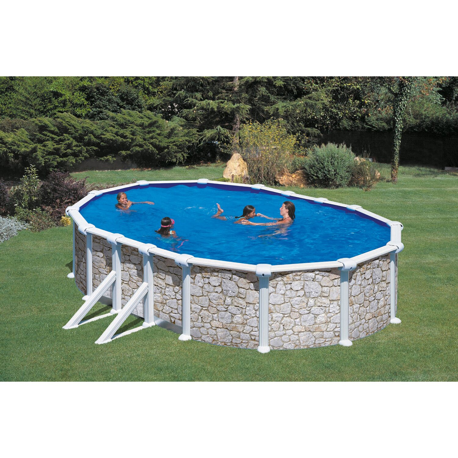 Summer fun stahlwand pool set valencia 500 cm x 300 cm x for Holzpool obi