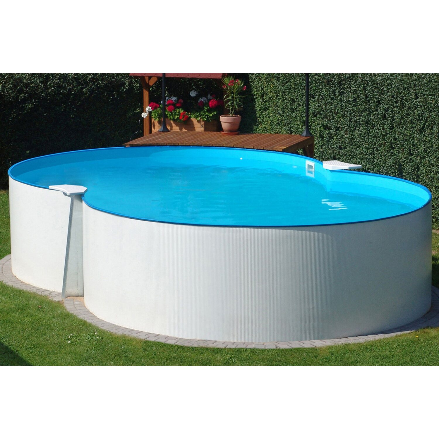 Stahlwand pool set montevideo aufstellbecken achtform 470 for Garten pool komplett