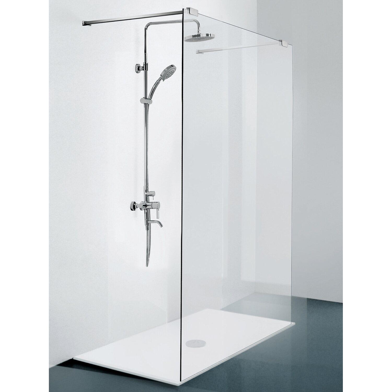 sanotechnik duschtrennwand n8100 mit teleskophalterung chrom 195 cm x 100 cm kaufen bei obi. Black Bedroom Furniture Sets. Home Design Ideas