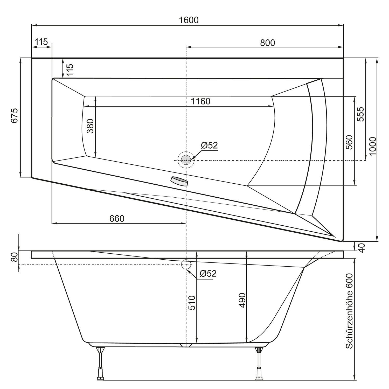whirlpool komplettsystem badewanne galia i typ a 160 cm x. Black Bedroom Furniture Sets. Home Design Ideas