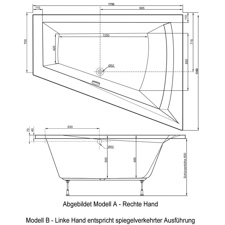 badewanne galia ii 175 cm x 135 cm x 70 cm rechts kaufen. Black Bedroom Furniture Sets. Home Design Ideas