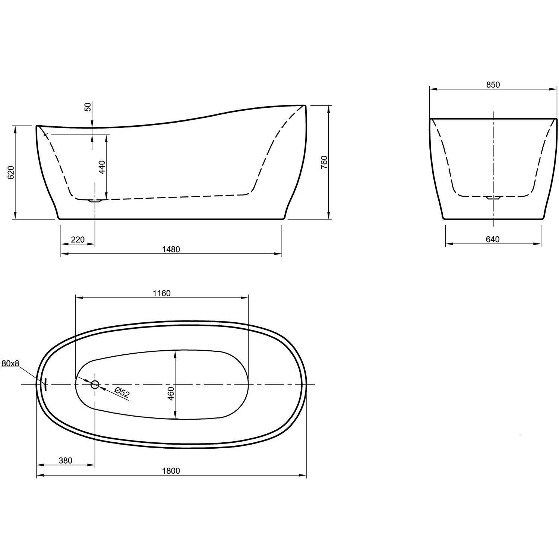freistehende badewanne aviva 180 cm x 85 cm schwarz wei kaufen bei obi. Black Bedroom Furniture Sets. Home Design Ideas