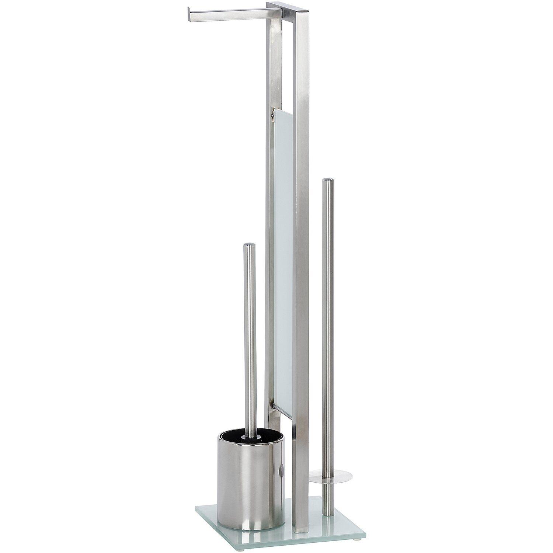 Wenko Stand WC-Garnitur Rivalta Silber Matt 70 cm x 18 cm x 20 cm
