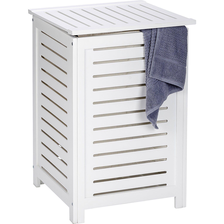 Wäschekorb Holz wenko wäschetruhe oslo echtholz weiß 65 cm x 45 cm x 45 cm kaufen