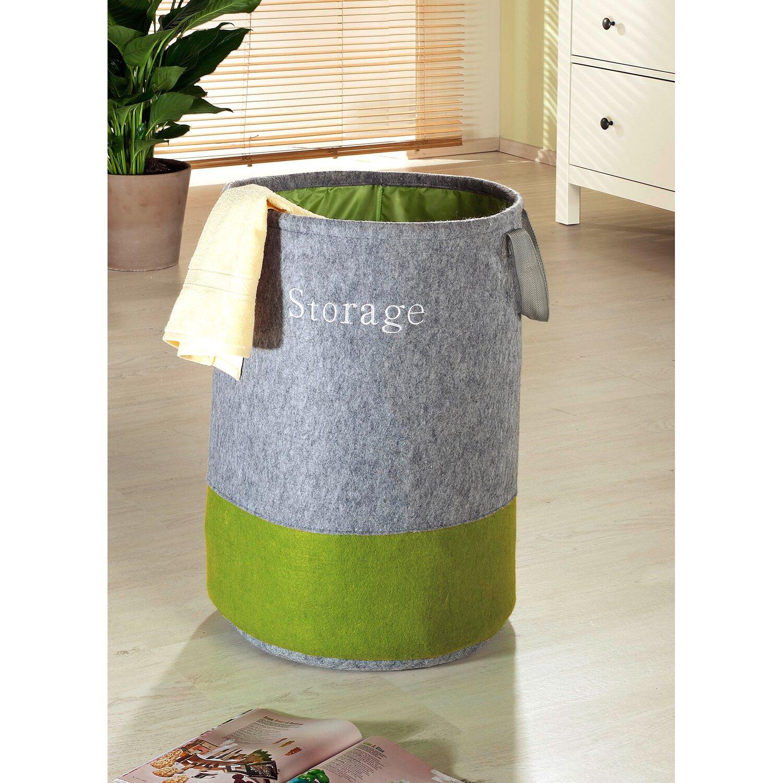 Wenko Pop-Up Wäschesammler 75 l Filz Grau-Grün kaufen bei OBI