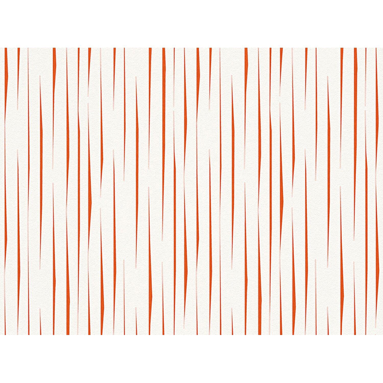 Aisslinger Vliestapete Streifen Weiß-Rot