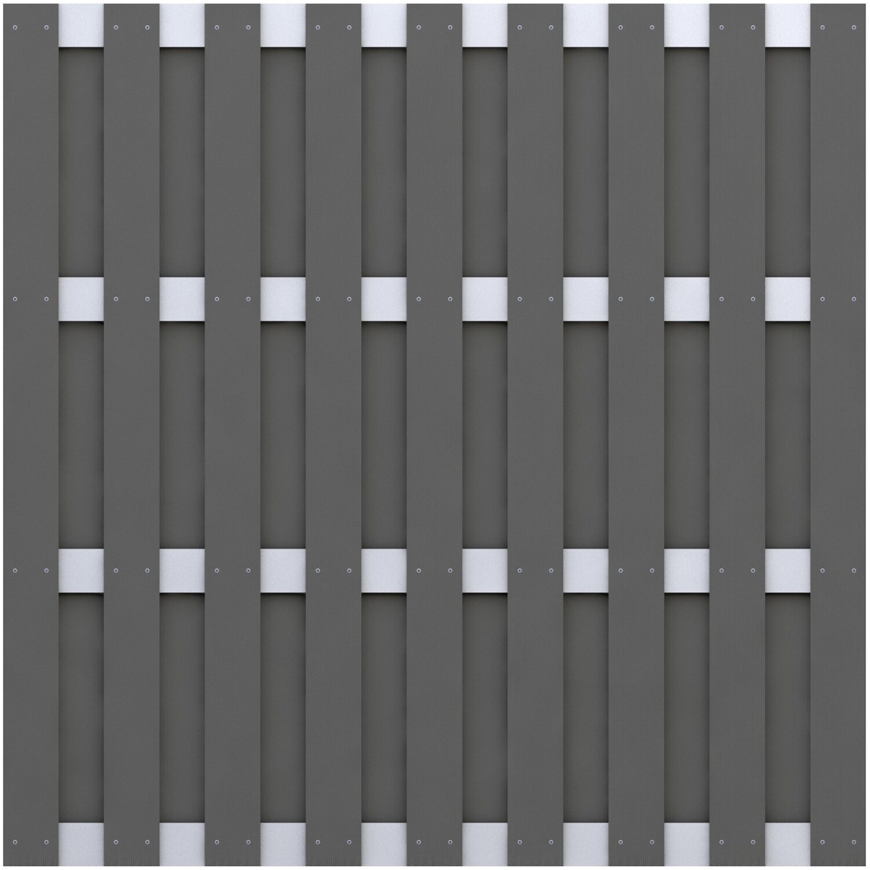 Sichtschutzzaun Element Jumbo WPC Anthrazit Aluminium 179 cm x 179