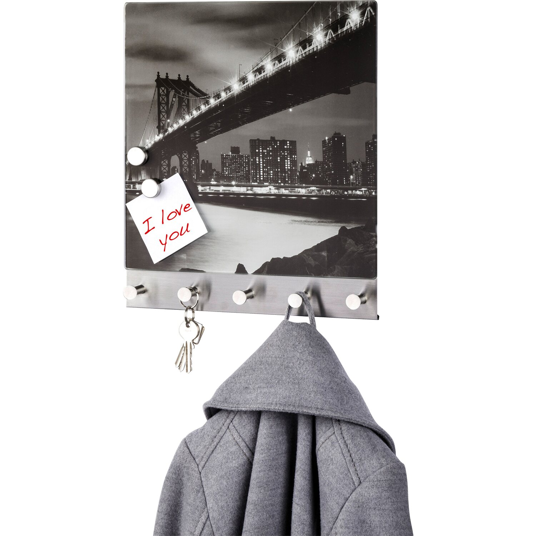 Wenko magnetische garderobe manhattan bridge 5 haken 30 cm for Garderobe 30 cm