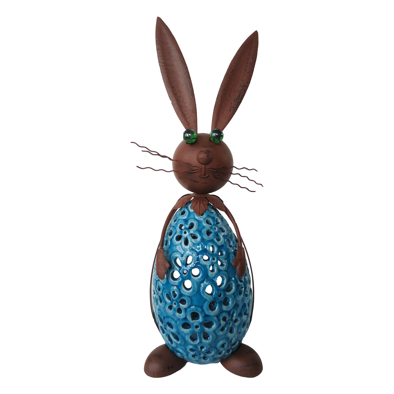 silex kerzenhalter hase metall braun blau 22 5 cm x 15 cm. Black Bedroom Furniture Sets. Home Design Ideas