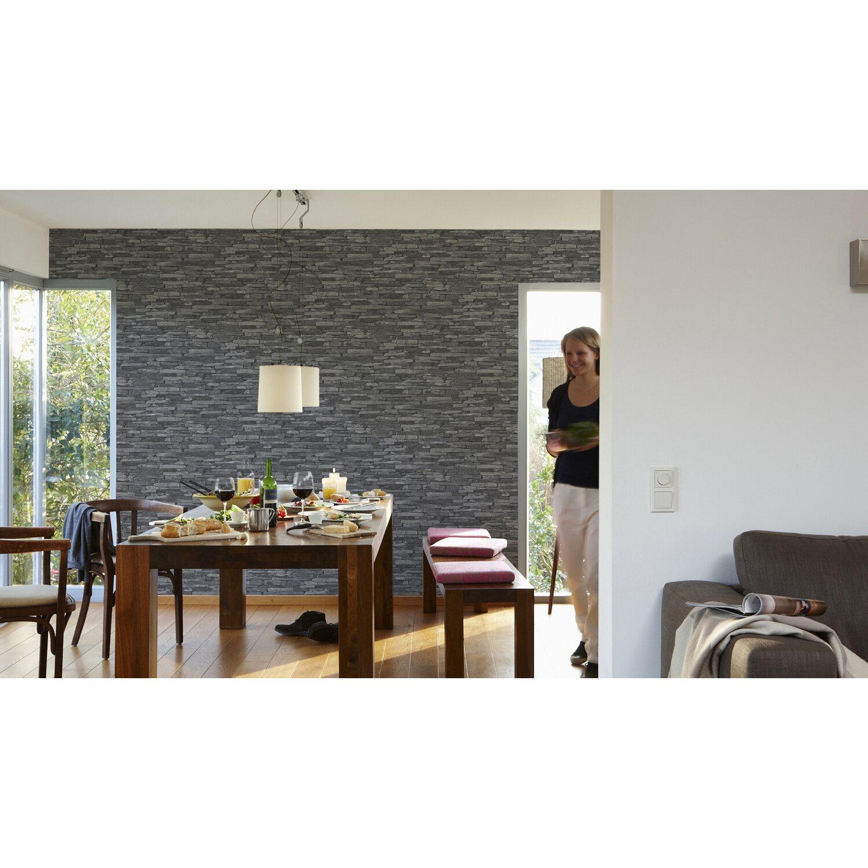 A s creation vliestapete naturals schwarz kaufen bei obi - Tapeten wohnzimmer obi ...