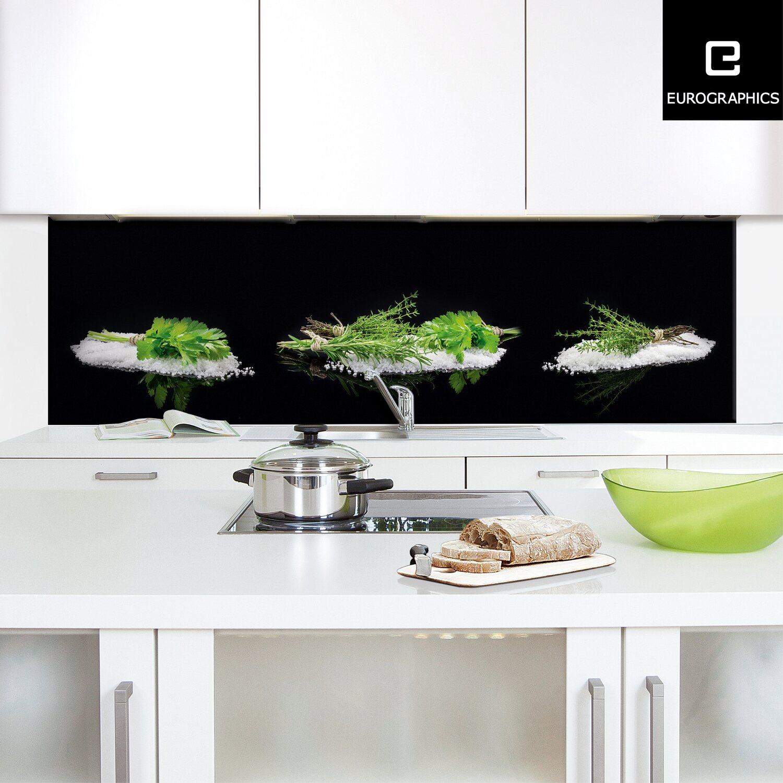 Küchenrückwand 60 cm x 200 cm Alu Dibond Black Mirror Herbs II