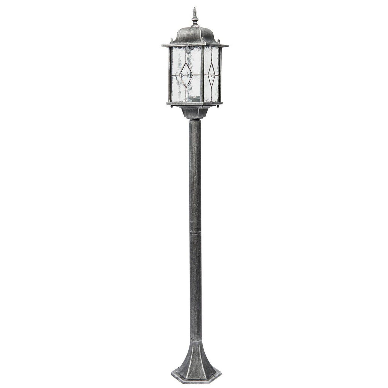 MW Light Außenleuchte EEK: E-A++ Burgos Schwarz-Silber H: 122 cm