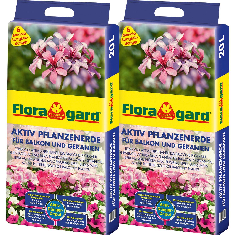 Floragard Aktiv Pflanzenerde für Balkon und Geranien 2 x 20 l