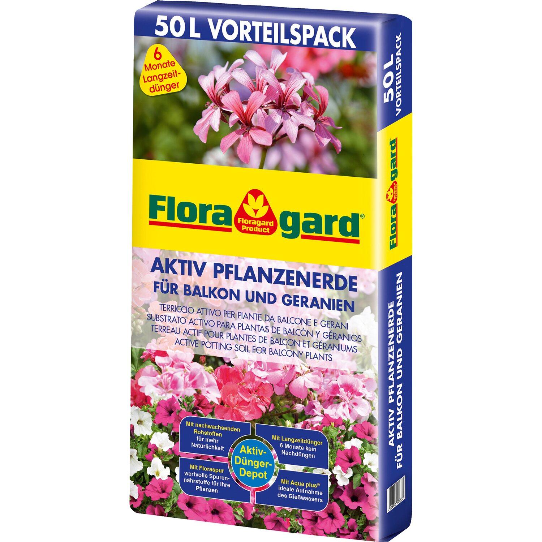 Floragard Aktiv Pflanzenerde für Balkon und Geranien 1 x 50 l
