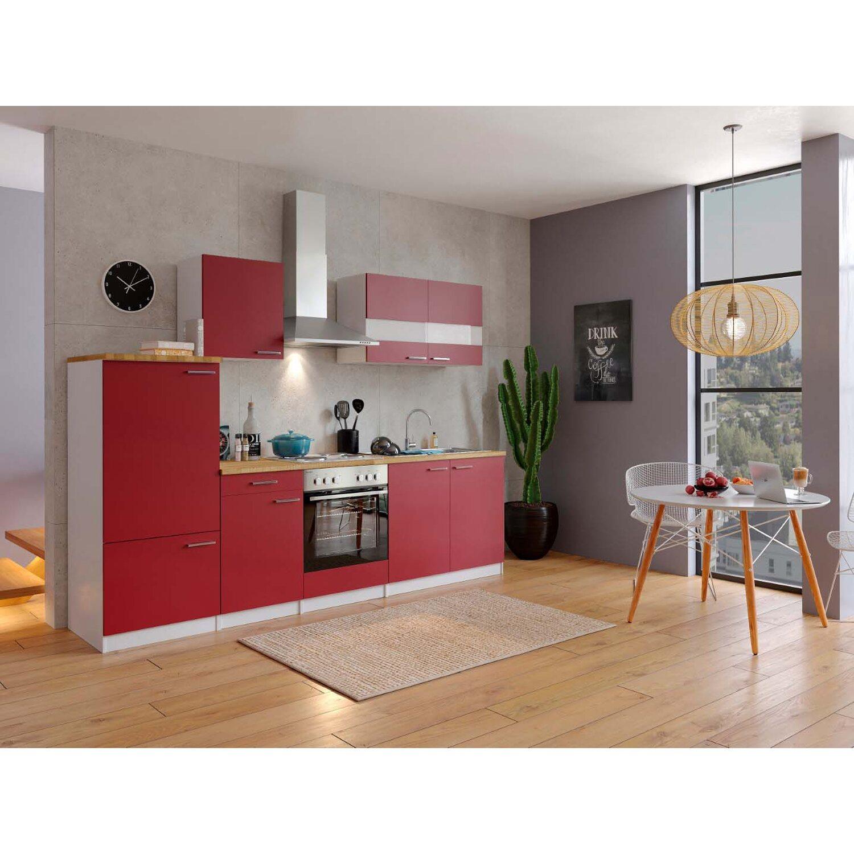 Respekta Küchenzeile ohne E-Geräte 270 cm Rot-Weiß kaufen bei OBI