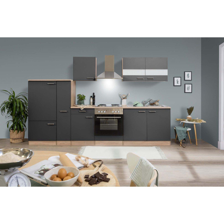 respekta k chenzeile ohne e ger te 300 cm grau eiche s gerau kaufen bei obi. Black Bedroom Furniture Sets. Home Design Ideas