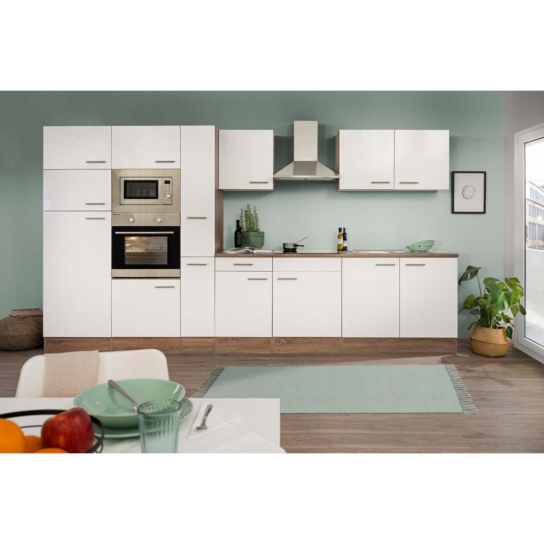 Respekta Küchenzeile ohne E-Geräte 360 cm Weiß Seidengl.-Eiche York ...