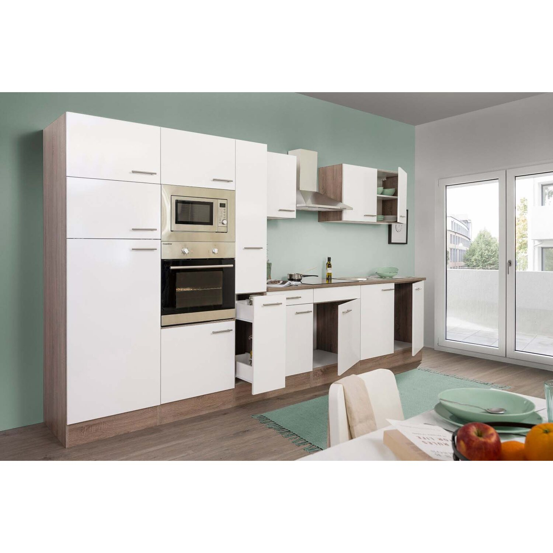 respekta k chenzeile ohne e ger te 360 cm wei seidengl eiche york kaufen bei obi. Black Bedroom Furniture Sets. Home Design Ideas
