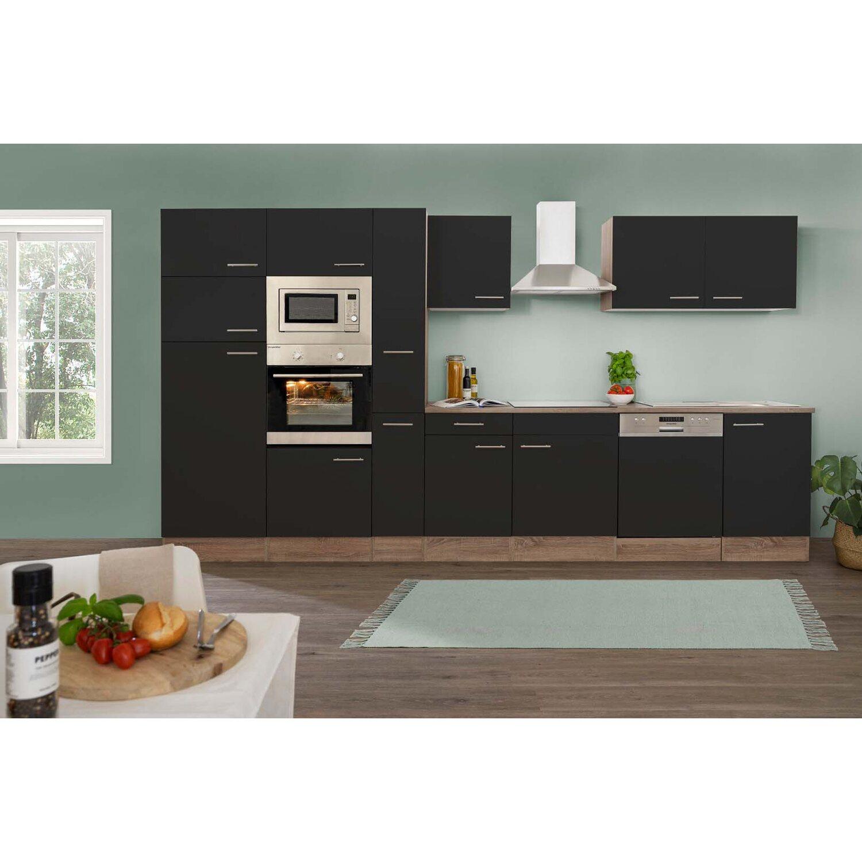 respekta k chenzeile ohne e ger te 370 cm schwarz seidengl eiche york kaufen bei obi. Black Bedroom Furniture Sets. Home Design Ideas