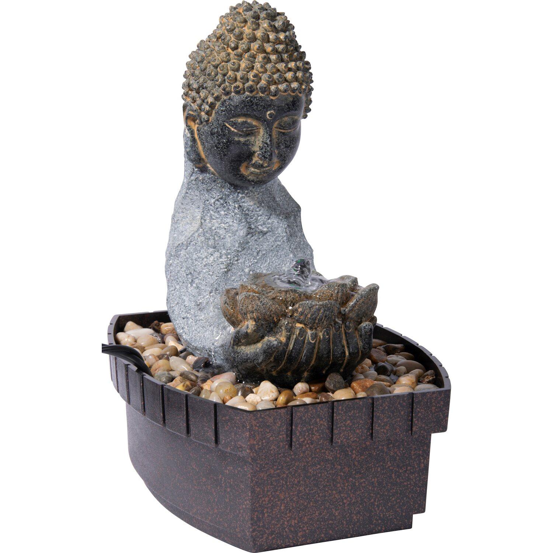 Dobar Zimmerbrunnen Buddha Lotusblüte in Steinoptik mit Deko-Steinen | Dekoration > Zimmerbrunnen | Dobar