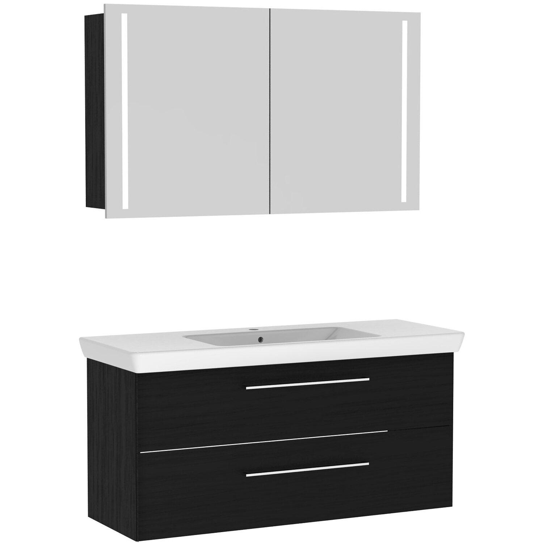 multo badm bel set mit spiegelschrank lotto xl125 schwarz. Black Bedroom Furniture Sets. Home Design Ideas