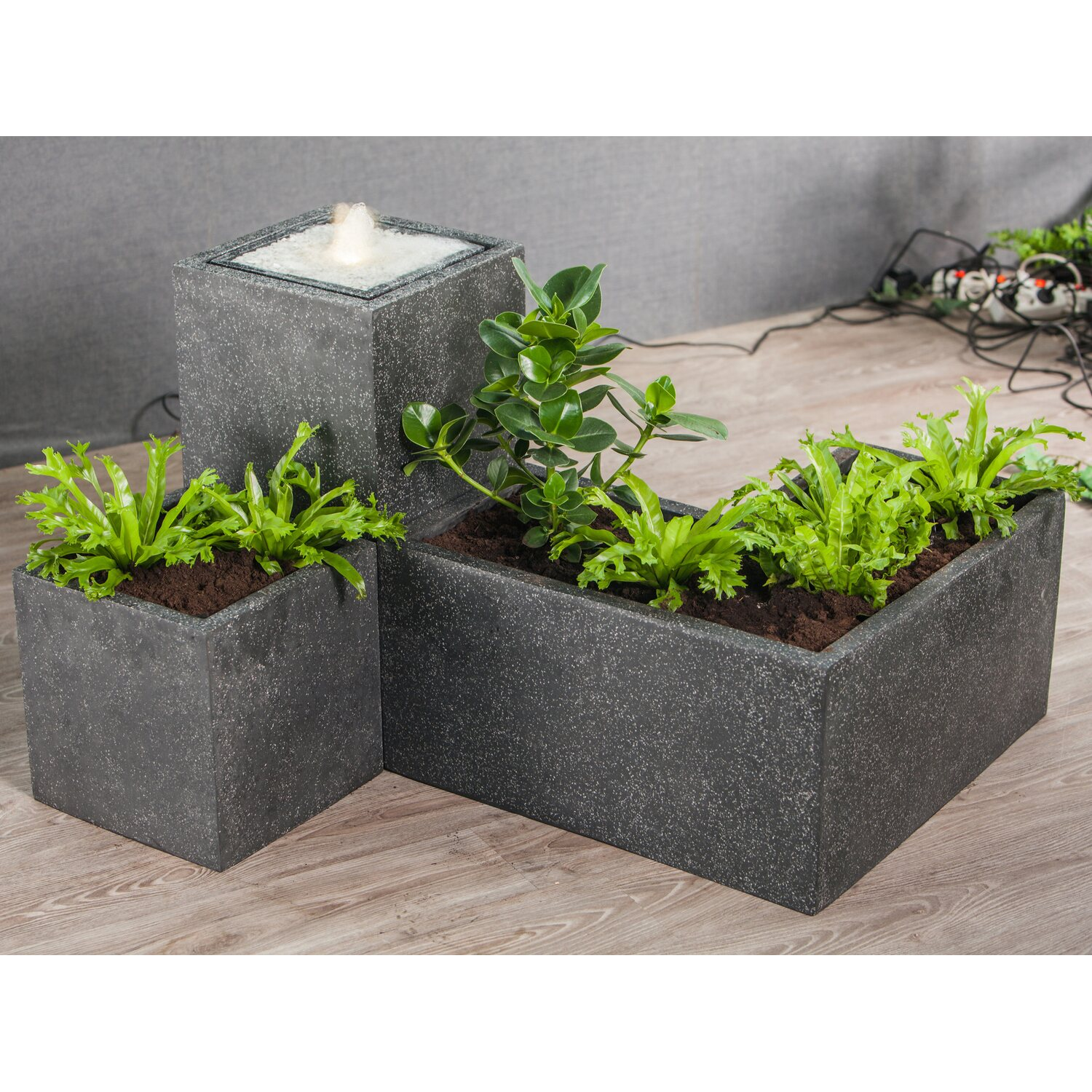 heissner terrassenbrunnen set plantana gro mit led 35 x 35 x 68 cm kaufen bei obi. Black Bedroom Furniture Sets. Home Design Ideas
