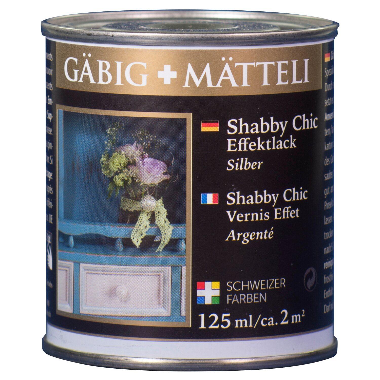 GäbigMätteli Gäbig+Mätteli Shabby Chic Effektlack Silber glänzend 125 ml