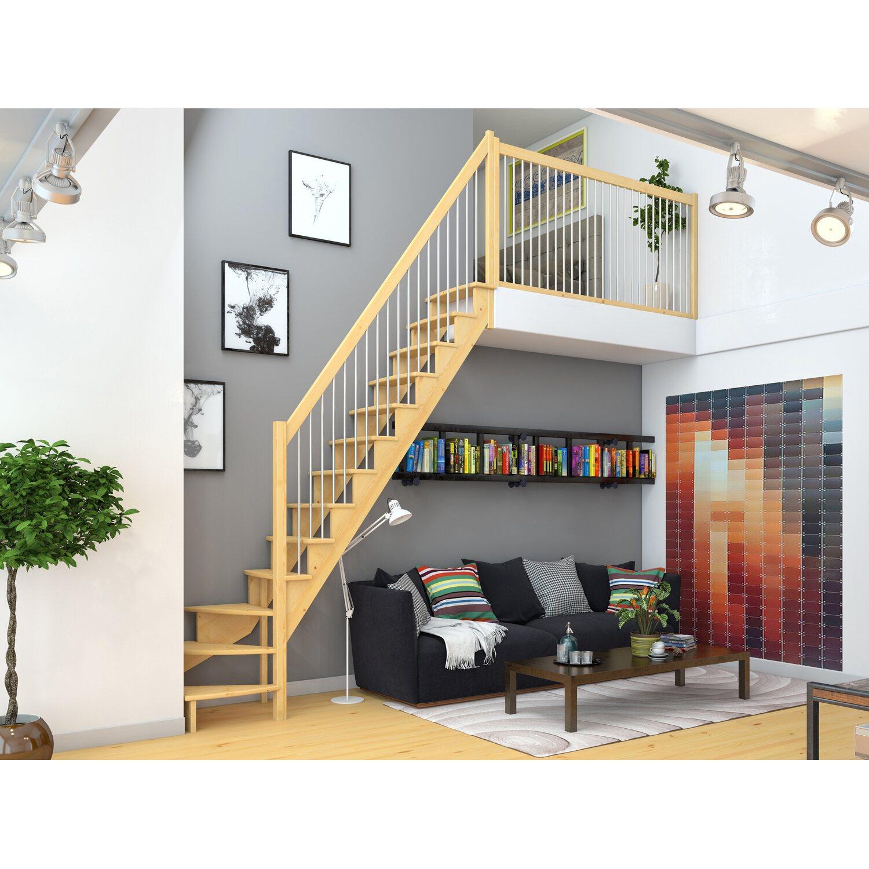 Dolle Raumspartreppe Lyon Kiefer Metallgeländer 65 cm 1/4-gewendelt U/R | Baumarkt > Leitern und Treppen > Treppen | Dolle
