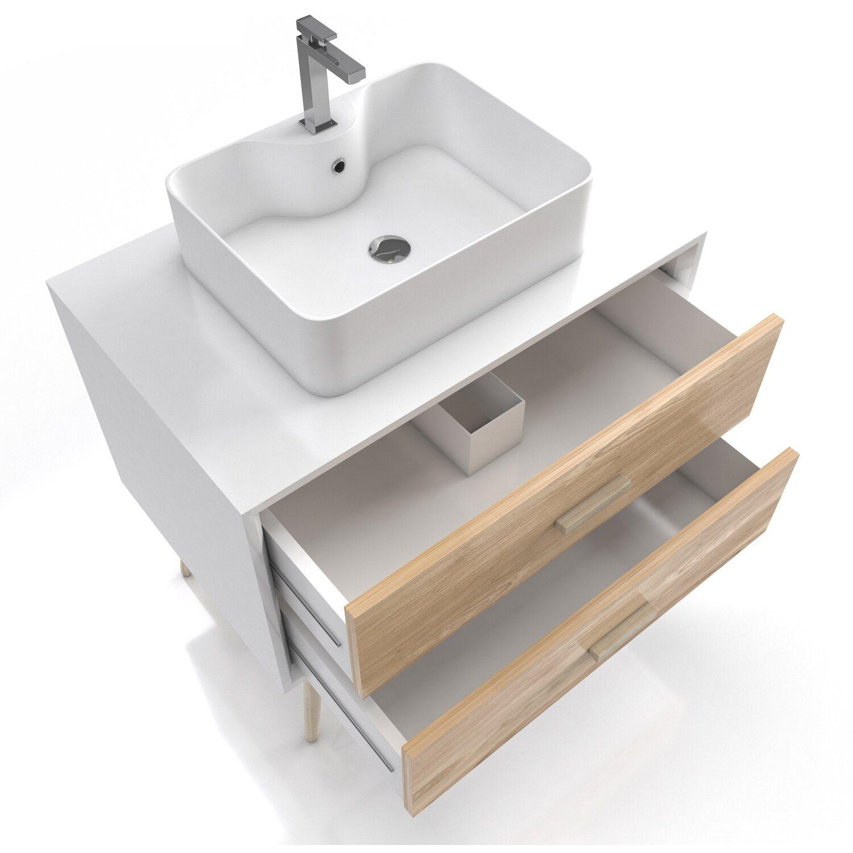 Aurlane Waschtischunterschrank 80 Cm Fjord Eiche Weiss Kaufen Bei Obi