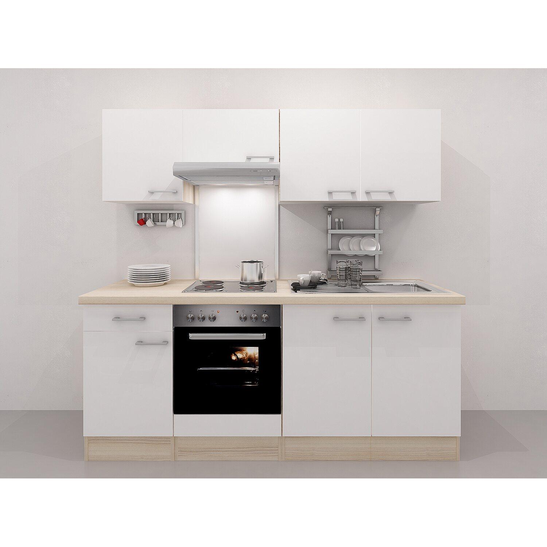 Flex-Well Exclusiv Küchenzeile Abaco 210 cm Perlmutt glänzend ...