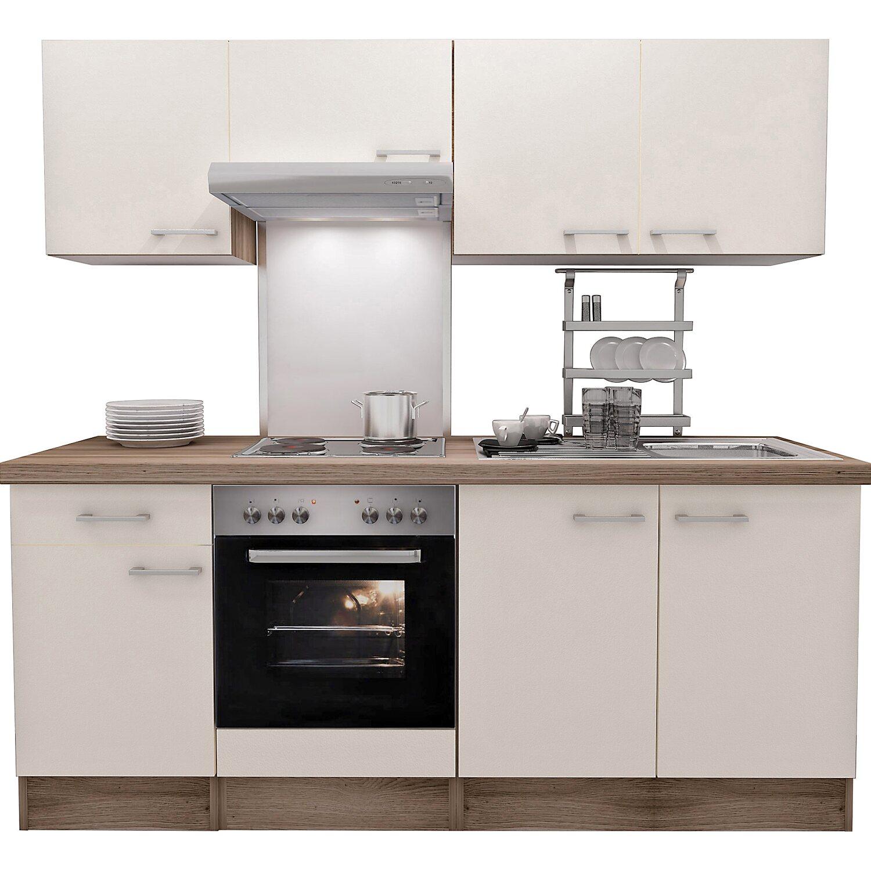 Flex-Well Exclusiv Küchenzeile Eico 210 cm Magnolienweiß-Tennessee ...