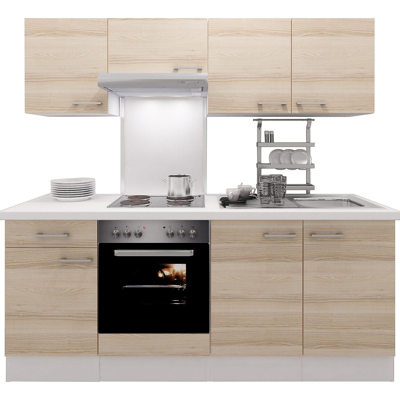 Flex-Well Exclusiv Küchenzeile Akazia 210 cm Akazie Nachbildung-Weiß ...