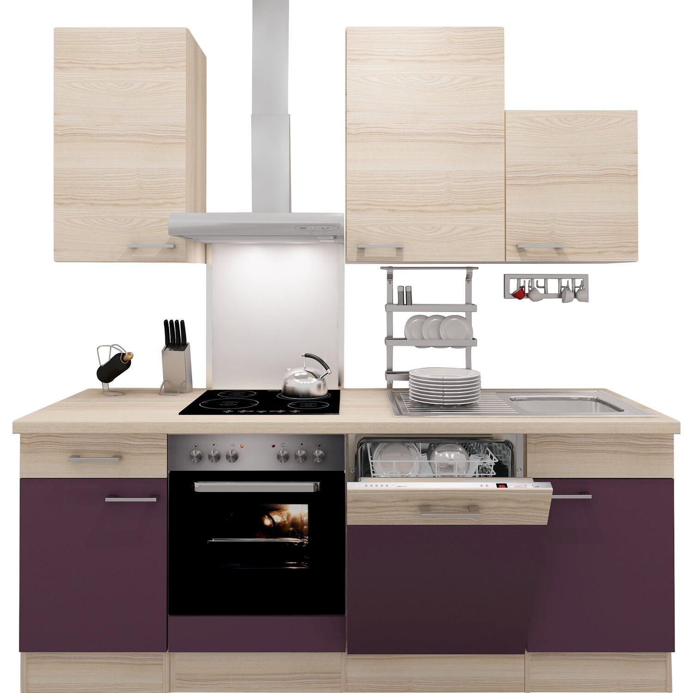 flex well exclusiv k chenzeile focus 220 cm akazie nachbildung aubergine kaufen bei obi. Black Bedroom Furniture Sets. Home Design Ideas