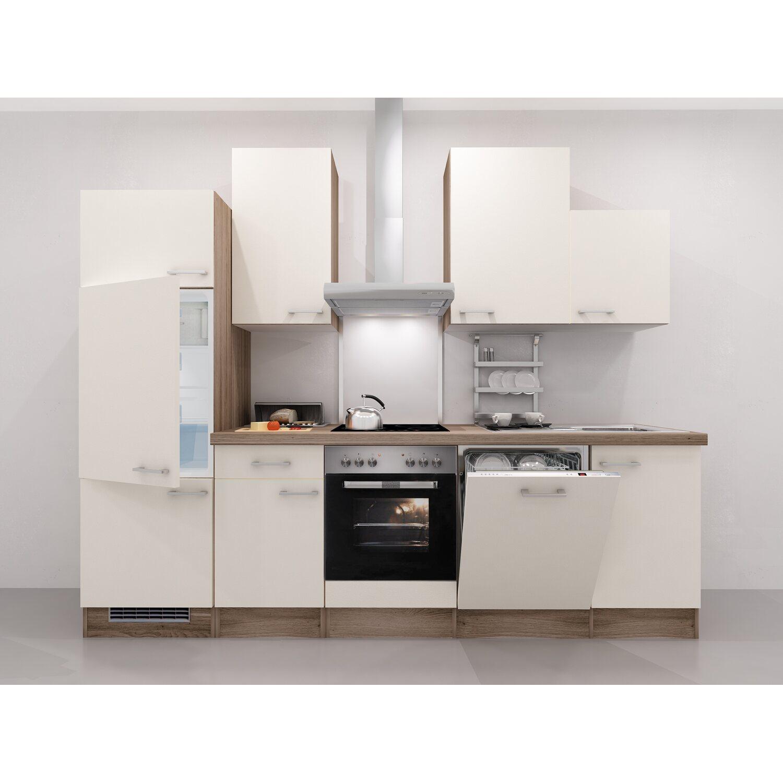 Flex-Well Exclusiv Küchenzeile Eico 280 cm Magnolienweiß-Tennessee Eiche