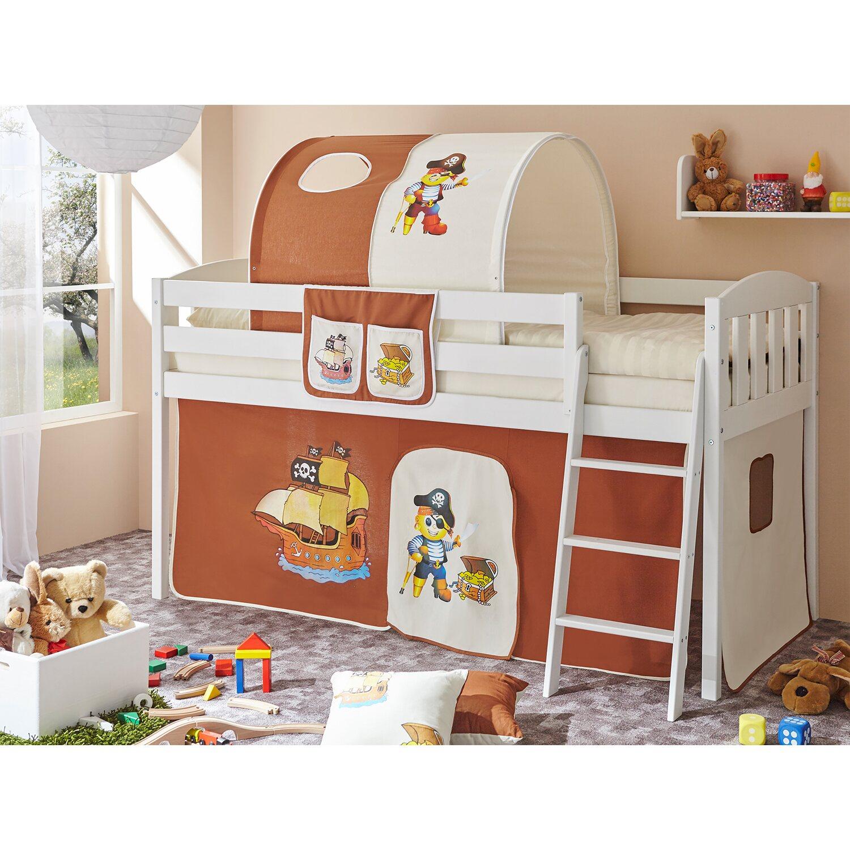 ticaa hochbett eric v kiefer wei pirat braun beige kaufen bei obi. Black Bedroom Furniture Sets. Home Design Ideas