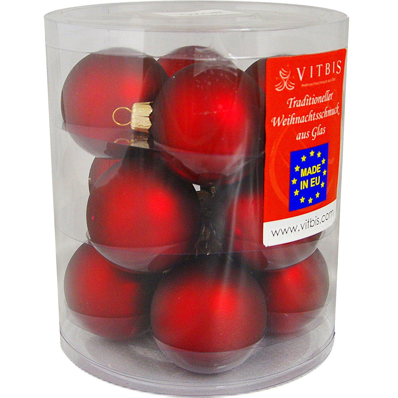 Vitbis glasweihnachtskugeln 6 cm 12 st ck bordeaux kaufen bei obi - Obi weihnachtskugeln ...
