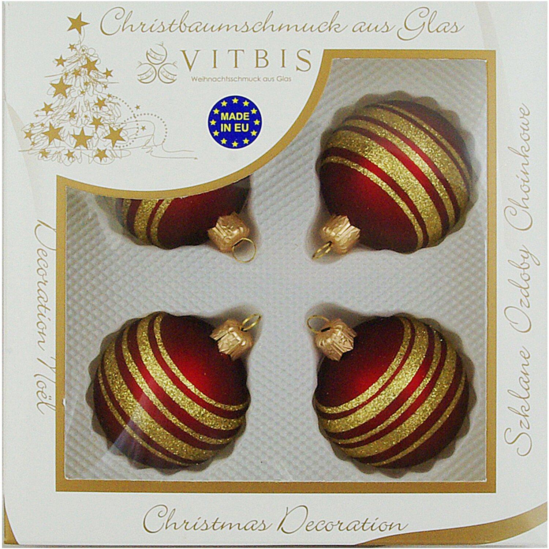 Vitbis glasweihnachtskugeln 6 cm 4 st ck dekor streifen bordeaux gold kaufen bei obi - Obi weihnachtskugeln ...