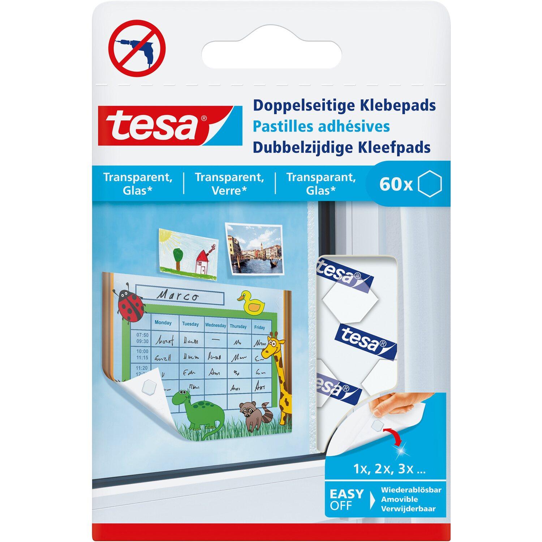 Tesa Doppelseitige Klebepads für transparente Oberflächen und Glas ...