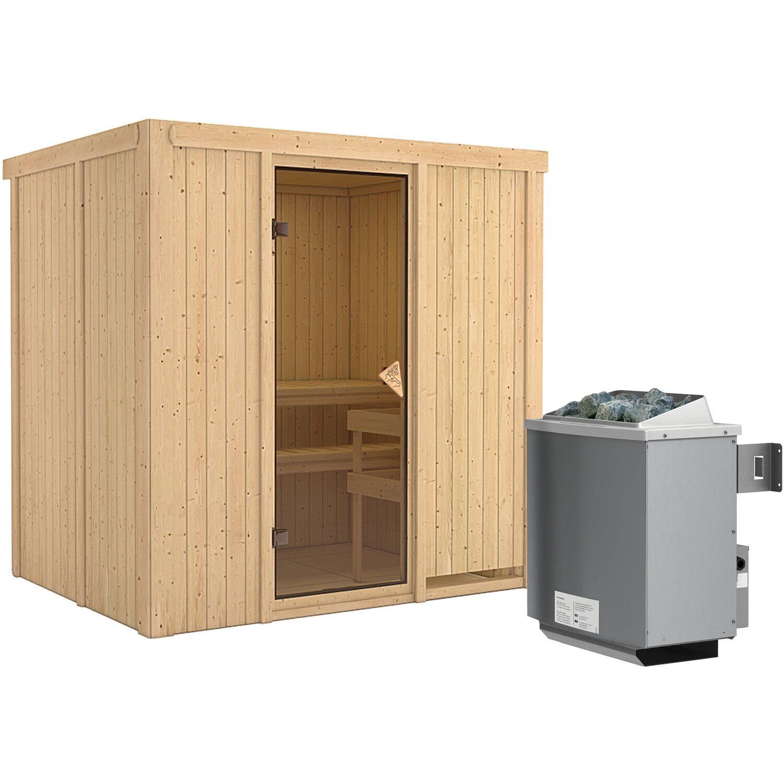 Karibu Sauna-Set Bjarne inkl. Edelstahl-Ofen 9 kW mit integr. Steuerung,   Garten > Grill und Zubehör > Gartenkamine   Karibu