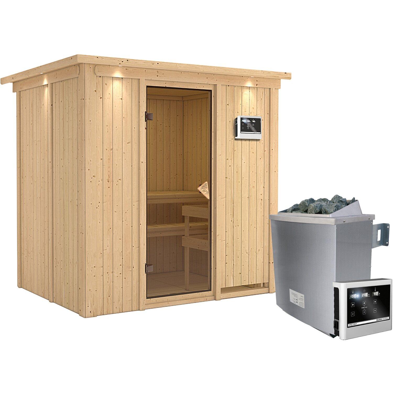 Karibu Sauna-Set Bjarne inkl. Edelstahl-Ofen 9 kW mit ext. Steuerung, Dachkranz   Garten > Grill und Zubehör > Gartenkamine   Karibu